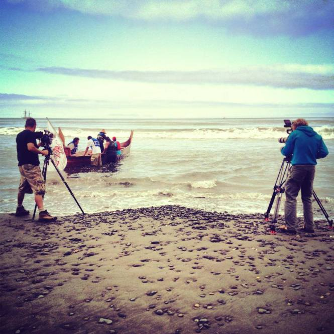 10. Clearwater - Crew filming and also in the canoe (Photo by Melissa Woodrow)